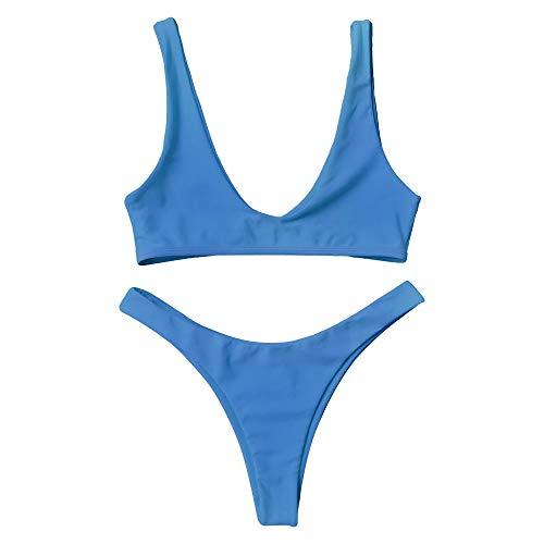 ZAFUL Damen Sport Badebekleidung Sexy Tanga Bikini Set Blau M