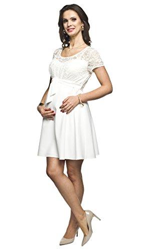 Elegantes und bequemes Umstandskleid, Brautkleid, Hochzeitskleid für Schwangere Modell: SANTIA, Creme, XL