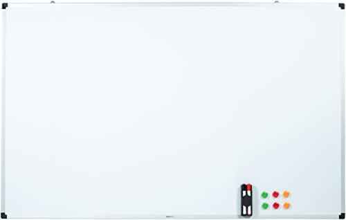 AmazonBasics - Lavagna bianca, cancellabile a secco, con supporto porta-pennarelli e bordi in alluminio, 150 cm x 100 cm