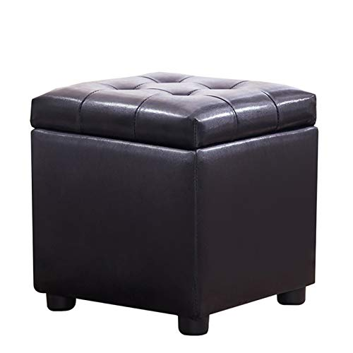 NNHDWS Leather Stool Storage, Sofa Stool, Household Square Storage Box, Multifunctional Shoe Changing Stool, Living Room Stool, Black, Wine Red,Black,S
