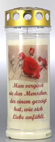 Kerzen Junglas Grablichtkerze, Grabkerze, Man vergisst nie den Menschen - 20x7,5 cm - 3848 - ca. 7 Tage Brenndauer – Trauerkerze mit Motiv, Foto und Spruch.