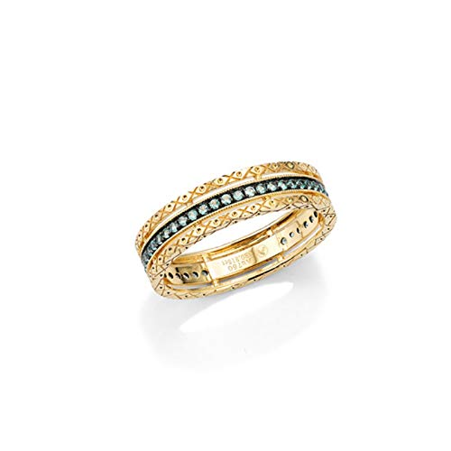 AueDsa Ring Gold Wedding Rings for Women 18K Gold Ethnic Ring with Emerald Ring Size O 1/2