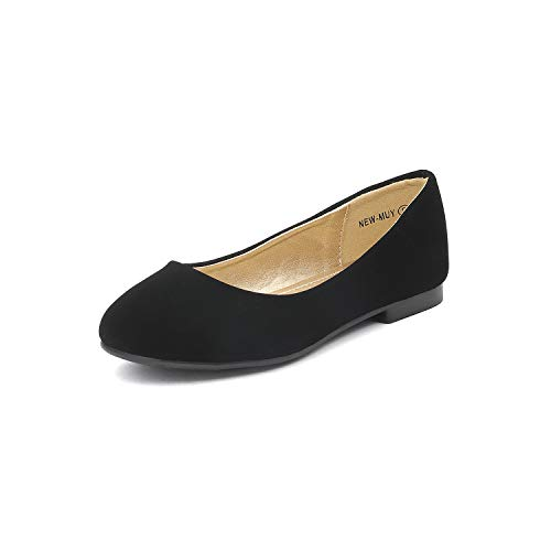 DREAM PAIRS Little Kid Muy Black Nubuck Girl's Mary Jane Ballerina Flat Shoes - 3 M US Little Kid