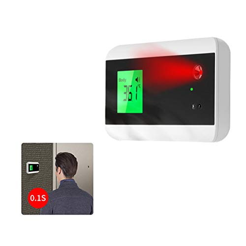 NNGT Wall Plug-in Cordless Doorbell,Smart Doorbell Thermometer Wall Mounted Bluetooth Transmission Infrared Thermometer Contactless Automatic Induction Thermometer