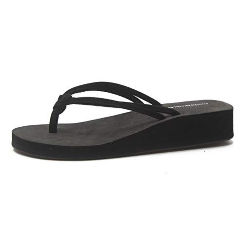 Fracasos de tirón del Verano Libre de Las Mujeres Sandalias de Moda Inferior Grueso Antideslizante Zapatillas de Playa Cómodo (Color : Black, Size : 37)