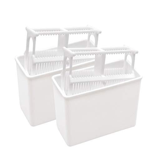 YXQ 24 Slots Microscope Slides Staining Jar Frame Rack 2-Set White Plastic Covered