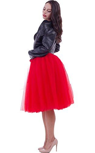 SCFL Jupe Tutu Femme Jupe Midi Tulle 7 Layers Petticoat Underkirt avec ceinture élastique pour fête de mariage, Rouge, Taille unique