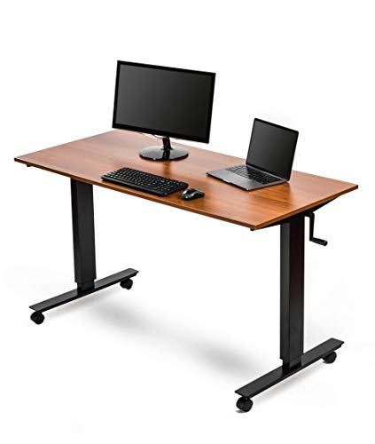 Crank Adjustable Height Standing Desk (56 Inches Wide, Black Frame/Teak Top)