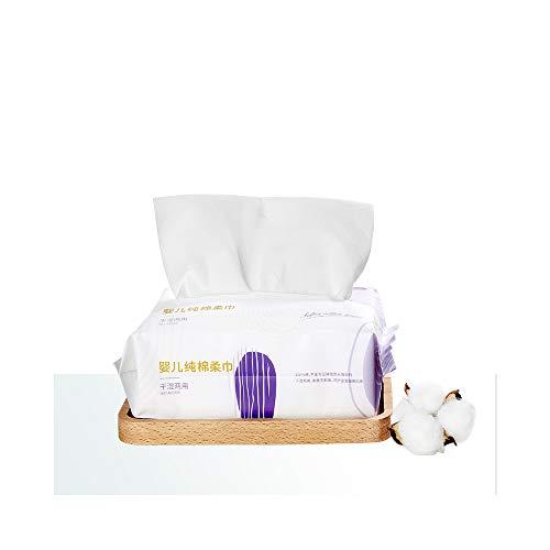 Deeyeo Toallitas suaves para bebé húmedas y secas de doble uso 100% algodón sin perfume para la piel sensible del bebé 80 unidades