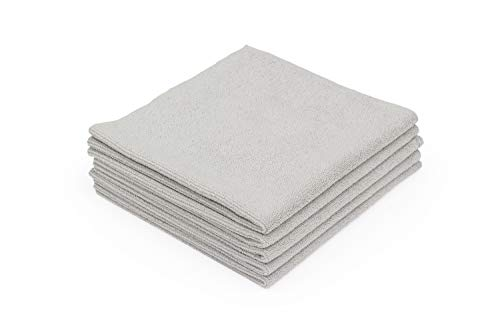 The Rag Company - The Edgeless Pearl - Professional Microfiber Detailing Towel for Ceramic Coating Leveling and Sealant Removal, Scratch-Free with No Tags, 320gsm, 16in x 16in, Ice Grey (5-Pack)