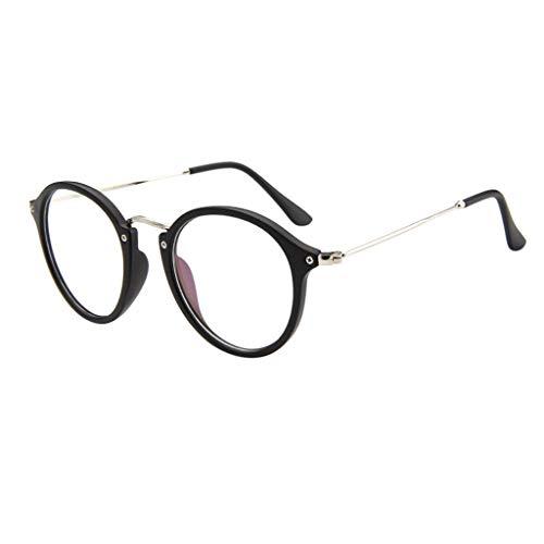 LABIUO Ladies Sonnenbrillen, Mode Klassische Runde Kreis Sonnenbrille Metallrahmen Klare Linse Sicherheit UV Schutz Brille Eyewear(E,freie Größe)