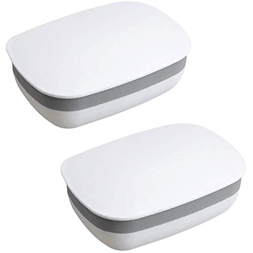 Soap Holder Soap Box Soap Dish Soap Protector Containers with Lid 2 Pack Plastic Soap Case for Home Gym Camping Outdoor Travel (White)