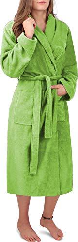 Circle Five Damen Bademantel, Sauna-Mantel, Morgenmatel aus 100% Baumwolle Oeko-Tex 100 [Gr. XS-4XL] Farbe Hellgrün Größe S