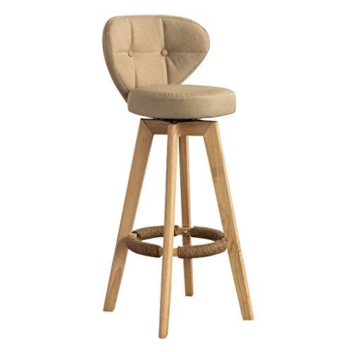 Taburetes de bar, tela tapizada moderna silla de comedor con respaldo bajo y patas de madera para comedor, cocina, mostrador de bar (color: naturaleza, tamaño: 64 cm)