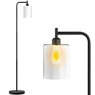 Industrial Floor Lamp - Floor Lamp with White Jade Glass Shade, Bulb Included, Led Floor Lamps for Bedroom, Floor Lamps for Living Room,Satin Finish, in-Line On/Off Foot Switch, Matte Black