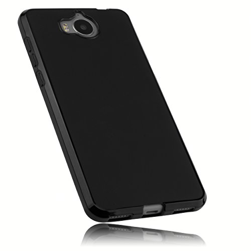 mumbi Hülle kompatibel mit Huawei Y6 II compact Handy Case Handyhülle, schwarz