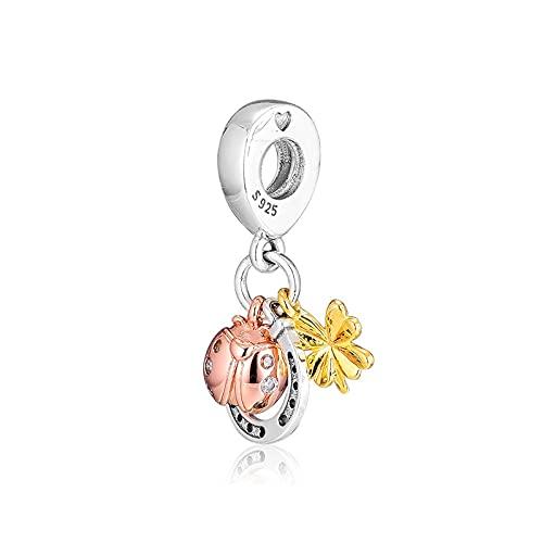 LIJIAN DIY 925 Sterling Jewelry Charm Beads Trébol De Herradura Y Mariquita Hacer Originales Pandora Collares Pulseras Regalos para Mujeres