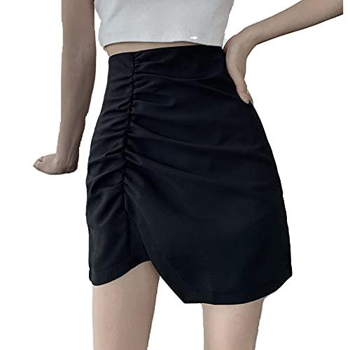 Falda irregular de estilo extranjero con cintura alta y cuerpo delgado
