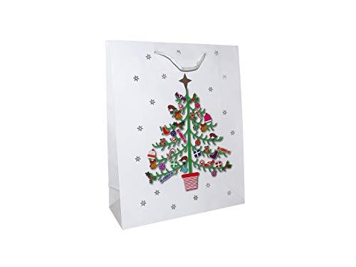 Paquete de 12 bolsas de papel grandes con diseño de árbol blanco de Navidad con papel de seda rojo Ho Ho Ho Ho.