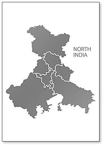 Imán para nevera con diseño de mapa de la región del Norte de la India