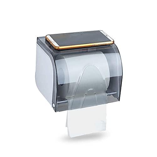 Soporte para rollo de papel higiénico a prueba de humedad, soporte para rollos de papel higiénico con ventosa para teléfono móvil sin perforación, impermeable, baño, blanco, azul
