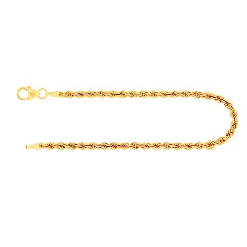 Armband als Kordelkette hohl in Gelbgold 585 / 14K, 19 cm lang, 2,7 mm breit, Gewicht ca. 2.2 g.