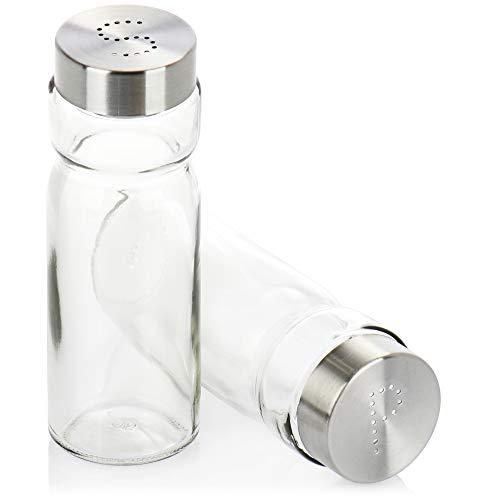 COM-FOUR® 2-teiliges Gewürzstreuer Set, elegante Gewürzstreuer aus Glas und Metall, klassische Salzstreuer und Pfefferstreuer im modernen Design (02-teiliges Set - transparent)