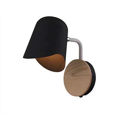 Lámpara de pared Lámpara de pared blanca negra de la cabecera E27 Sponces Modern Aisle Mirror Luz frontal Lámpara de pared Nordic con interruptor Apliques de Pared (Color Temperature : White light)