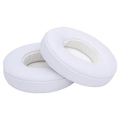 MMOBIEL Cuscinetti Auricolari di Ricambio Compatibile con Beats da Dr. Dre Solo 2 & 3 Cuffie Senza Fili (Wireless) con Pelle e proteina Memory Foam (Bianco)