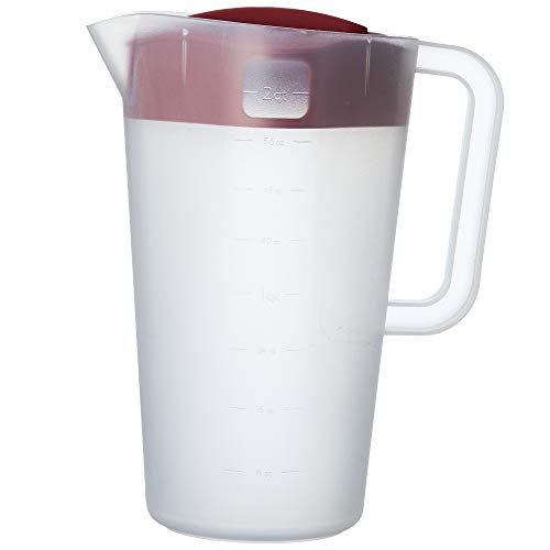 Goodcook 1/2 Gallon Plastic Straining Pitcher Square Lid with 3 Strainers and Close No Spill, Dishwasher Safe, Clear and Red