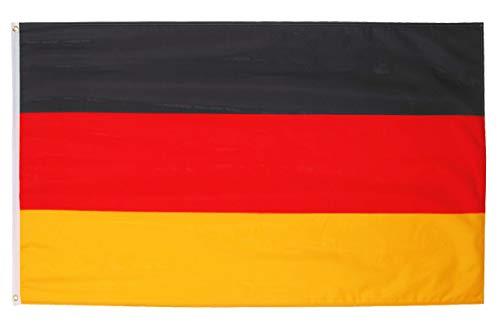 Fontee® [Deutschland Flagge [90X150 cm] [Siebdruck] [Lebendige Farbe] [UV-lichtbeständig] [Leinwandkopf] [Doppelt genäht] [Dicke Messingösen] [Germany Flagge]