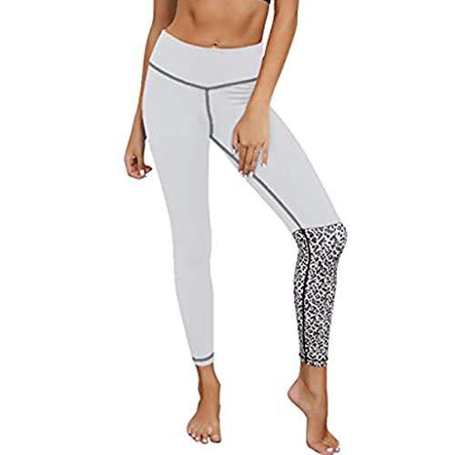 Pantalones de Yoga, Leggings de Yoga con Patchwork de Leopardo para Mujer Pantalones de Yoga de Cintura Alta Pantalón de Running, Pantalones de Mujer Ofertas Blanco Medio