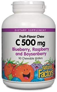 Vitamin C 500 Milligram 90 Chewable Tablets , Blueberry, Raspberry and Boysenberry by Natural Factors (Pack of 2)