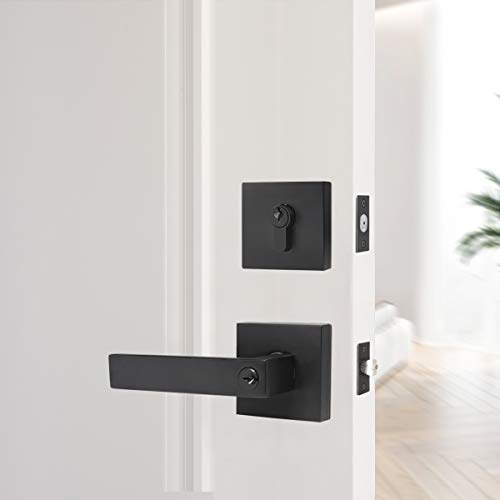 KNOBWELL 3 Pack Keyed Alike Heavy Duty Exterior Keyed Entrance Handleset with Double Keyed Square Deadbolt and Door Lever Lock Set, Matte Black Finish, All Same Keys
