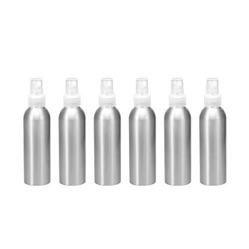 Uxcell Botella de spray de aluminio con pulverizador transparente de niebla fina vacía, recipiente rellenable, botella de viaje