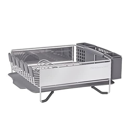 KitchenAid Compact Stainless Steel Dish Rack, Satin Gray,...