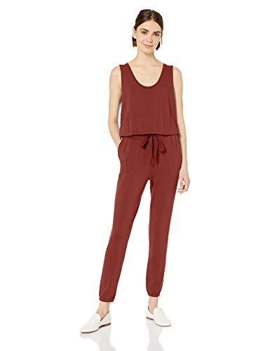 Daily Ritual Women's Supersoft Terry Relaxed-Fit Sleeveless Jumpsuit, Brick, Medium