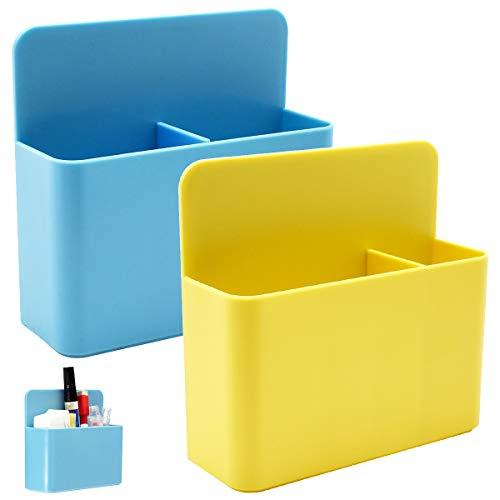 Qixuer 2 Pcs Caja de Almacenamiento Magnética Organizador Magnetic Pen Holder de Plástico con Imán de Goma para Oficina Hogar Escuela Aula Cocina (2 colors)