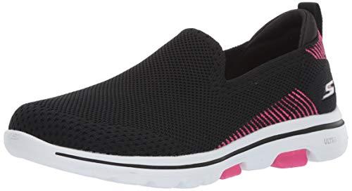 Skechers Women's GO Walk 5-PRIZED Sneaker, Black/Pink, 8 M US