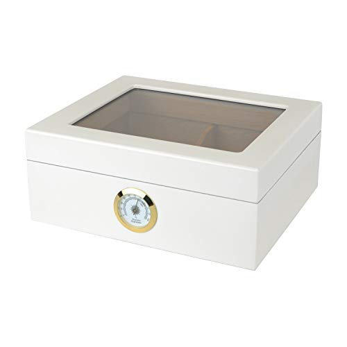 Capri Desktop Humidor With Tempered Glasstop, Cedar Divider, and Brass Ring Glass Hygrometer, Holds 25 to 50 Cigars, White