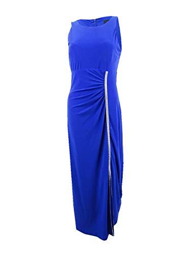 MSK Womens Sleeveless Embellished Evening Dress Blue 10