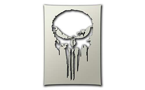 PixieBitz The Punisher Pain Style Skull Schablone – A4 Airbrush, Schwamm, Aerosol, Pastellfarben, Schnee ST-FL-PunisherPain
