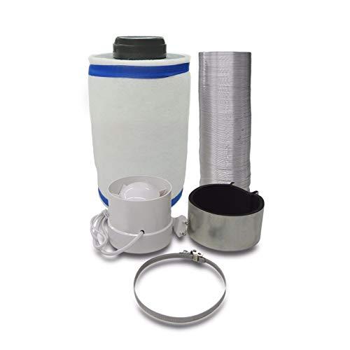 Grow Lüftungsset Klimaset Abluft-Filter Ø100mm bis 310m³/h, Zentrifugal Lüfter 130 m3/h für Growbox