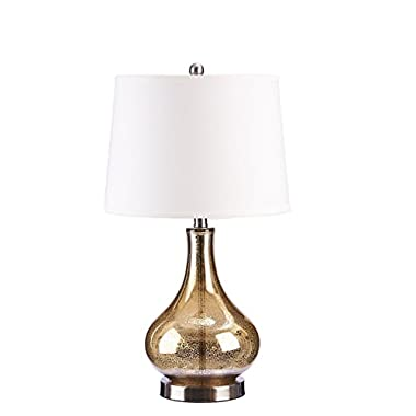 Catalina Lighting 19560-004 3-Way Mercury Glass Gourd Table Lamp with Beige Linen Drum Shade, 14  x 14  x 24  , Gold