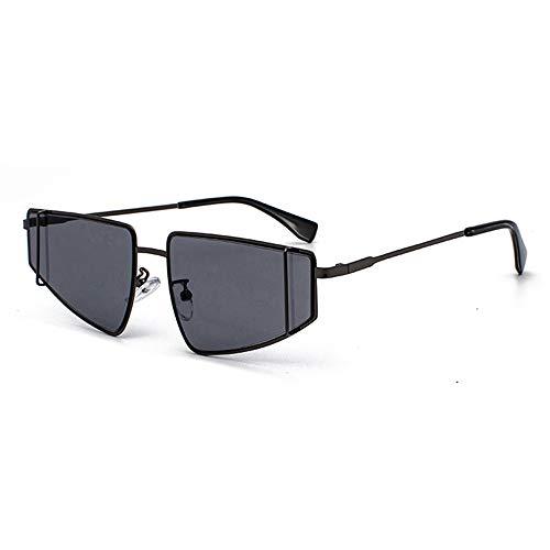QCSMegy Gafas de sol para hombres negro metal pequeño marco gafas de sol Europa y América moda conducción UV400 protección gris lente