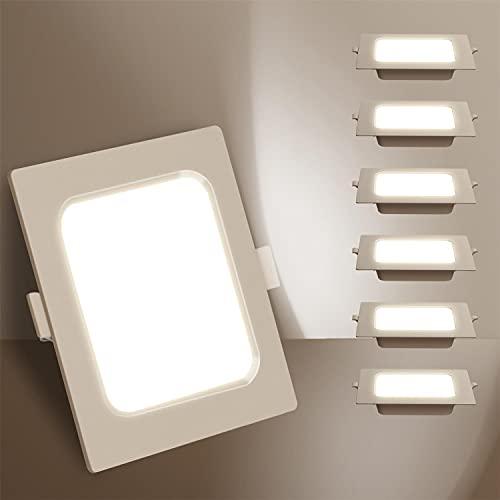 Aigostar Downlight Da Incasso a LED, 9W Equivalente a 100W, Daylight 4000K, Bianco, Faretti LED, Oblò a LED, Ф110-120mm, Confezione Da 6 [Classe di efficienza energetica A+]