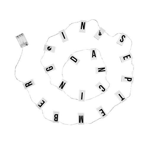 Butlers Blockbuster Lichterkette, Länge 201 cm - Schwarz-Weiße Beleuchtungskette mit leuchtenden Zahlen - Strahlende Buchstaben-Kette