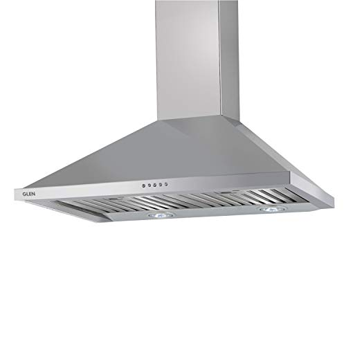 Glen 60cm 1250 m3/h Pyramid Kitchen Chimney (6054 SS, Baffle Filter, Push Button Control, Silver)