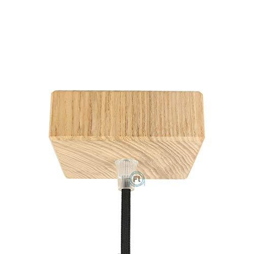 Baldachin | Abzweigdose | Verteilerdose zur Kabelabdeckung Ihrer Deckenlampe | Lampenkappe in holz eckig100mm x 100mm - h 30mm inkl Zugentlastung | Lampenbaldachin für alle Lampen geeignet