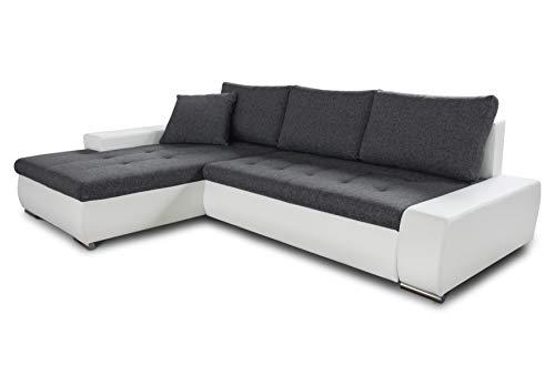 Ecksofa mit Schlaffunktion Faris - Couch mit Bettkasten, Big Sofa, Sofagarnitur, Couchgarniitur, Polsterecke, Bett (Weiß + Graphit (Madryt 120 + Inari 94), Ecksofa Links)